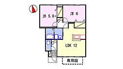 グランドゥール飾東A・B棟[A105号室]の間取り