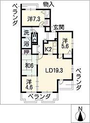 三渓ヒルズ E棟[3階]の間取り
