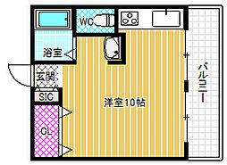 小路マンション 4階ワンルームの間取り