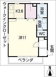 サンライフ赤坂[1階]の間取り