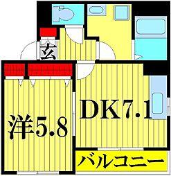 埼玉県吉川市木売2-の賃貸マンションの間取り