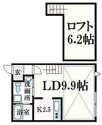 アメニティ江波 2階1LDKの間取り