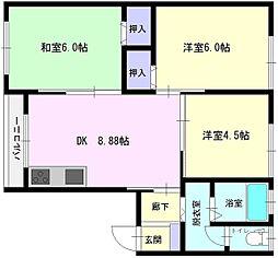 秋田県大仙市若竹町の賃貸アパートの間取り
