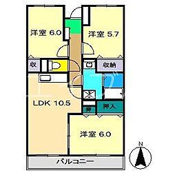リバージュマンション(札場)[3階]の間取り