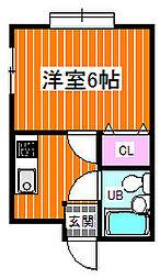 京阪本線 大和田駅 徒歩13分の賃貸マンション 2階1Kの間取り