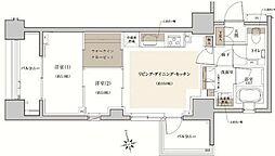 クレヴィア東京八丁堀Chuo Minato 6階2LDKの間取り