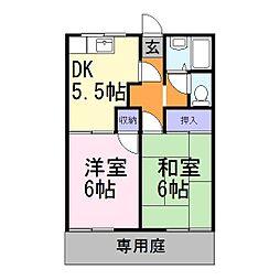 兵庫県加古郡播磨町大中3丁目の賃貸アパートの間取り