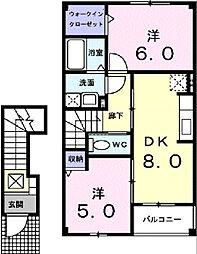 グレープタウン B[2階]の間取り