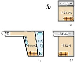 東京都北区滝野川1丁目の賃貸アパートの間取り
