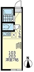 東急東横線 東白楽駅 徒歩5分の賃貸アパート 2階ワンルームの間取り