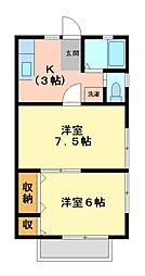 神奈川県川崎市高津区下作延の賃貸アパートの間取り