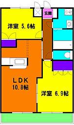 静岡県磐田市中泉の賃貸アパートの間取り