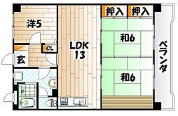 エクレール千防II[2階]の間取り