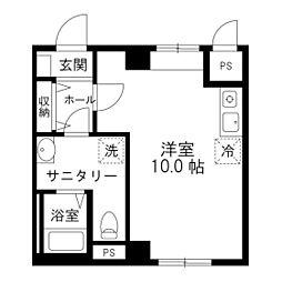 昇龍ビルII 7階ワンルームの間取り