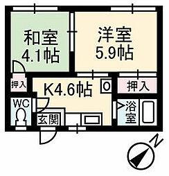 新通りコーポ[1階]の間取り