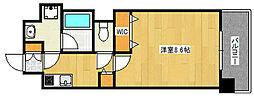 阪急神戸本線 王子公園駅 徒歩6分の賃貸マンション 6階1Kの間取り