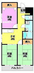 大阪府大阪市生野区巽南4丁目の賃貸マンションの間取り