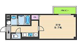 ヴィラペントハウス桑津 2階1Kの間取り