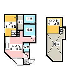 ディアコート日比野[1階]の間取り