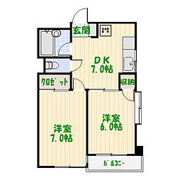 東京都足立区東和3丁目の賃貸マンションの間取り