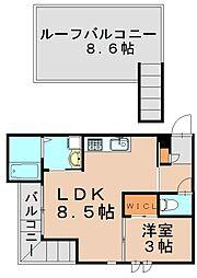グランディックM-2nd 2階1LDKの間取り
