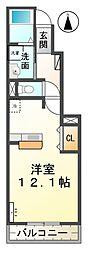 愛知県稲沢市稲沢町北山2丁目の賃貸アパートの間取り