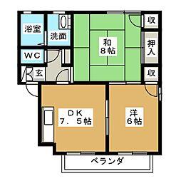 ローズガーデン800 E棟[2階]の間取り