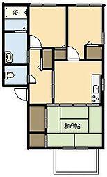 コーポルリB棟[102号室]の間取り