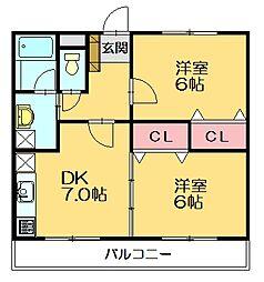 ハーモニーKハウス二又瀬[2階]の間取り