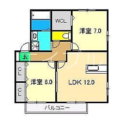 グランフェリオ B棟[1階]の間取り