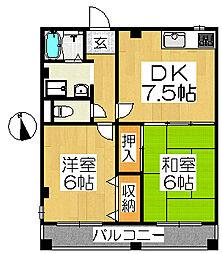 シャトー中三[3階]の間取り