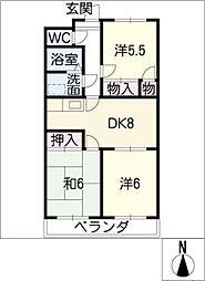 ハーモニック若草[3階]の間取り