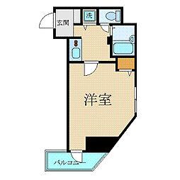 カスタリア新宿 5階1Kの間取り
