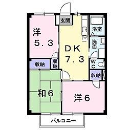 ガーデンプラザK'S[1B号室]の間取り