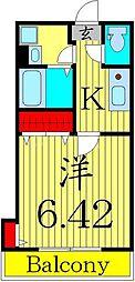 京成本線 堀切菖蒲園駅 徒歩9分の賃貸アパート 2階1Kの間取り