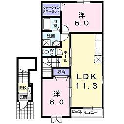 茨城県龍ケ崎市南中島町の賃貸アパートの間取り