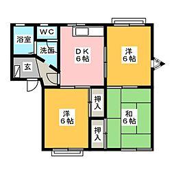 サンモール塚本B[1階]の間取り