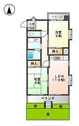 愛知県名古屋市北区西志賀町2丁目の賃貸マンションの間取り
