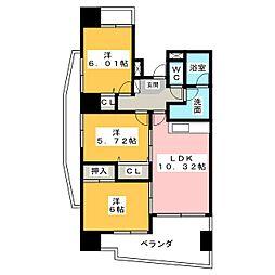中央ハイツ海老塚[4階]の間取り