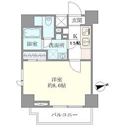 東京メトロ南北線 白金高輪駅 徒歩4分の賃貸マンション 2階1Kの間取り