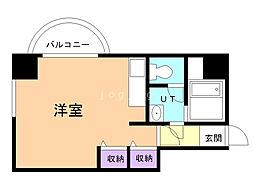 ビッグバーンズマンションN11 6階1Kの間取り