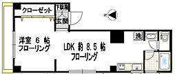 ローリエヤマモト 3階1DKの間取り