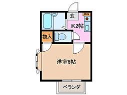 三重県津市南新町の賃貸アパートの間取り
