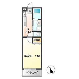 シャトウ清栄[1階]の間取り