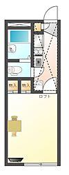 滋賀県大津市本堅田2丁目の賃貸アパートの間取り
