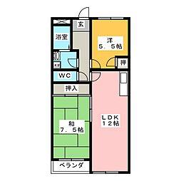 キャッスルフルタ[2階]の間取り
