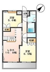 カームハイツ[2階]の間取り