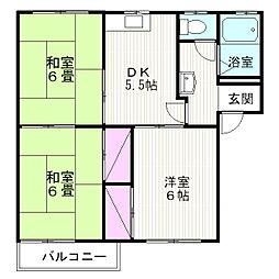 タウニー山田 D[201号室]の間取り