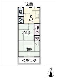 鹿野マンション[4階]の間取り