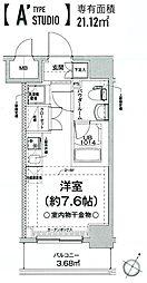 クラリッサ横浜フロード 6階ワンルームの間取り